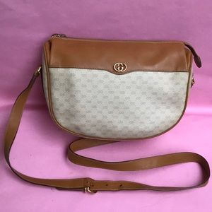 Orange/cream Gucci coated canvas/leather bag